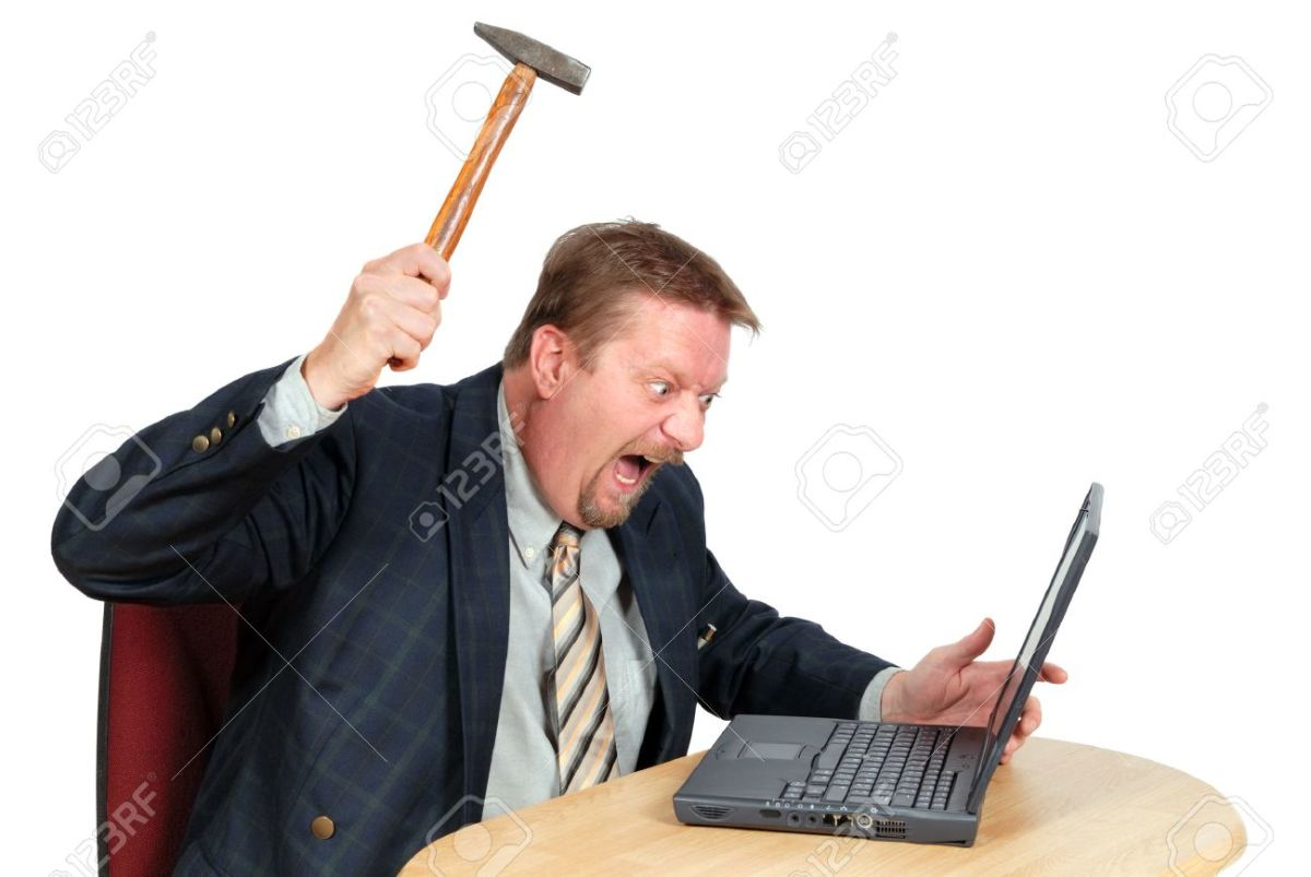 A poor stock-photo man wishing to hit his client in the head with a hammer. Virtually, of course.