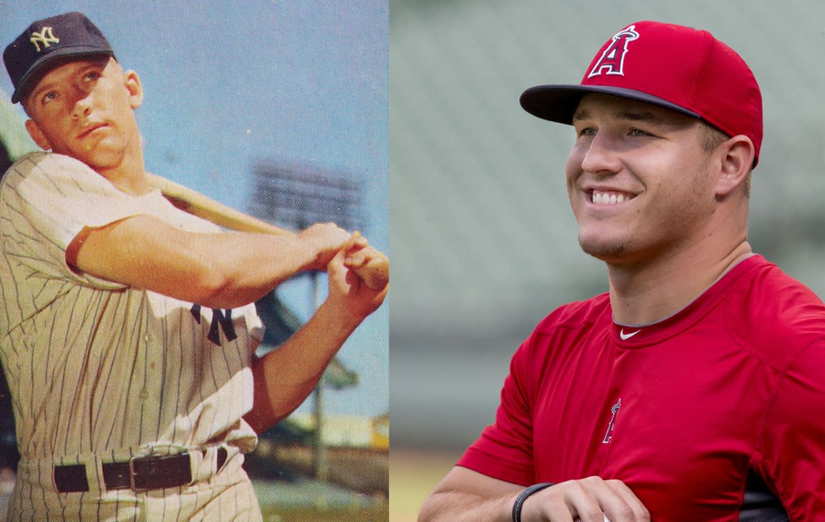 Mickey Mantle, shown here in about 1953, and Mike Trout, from 2014, were on similar career and Hall of Fame tracks through their first eight seasons.