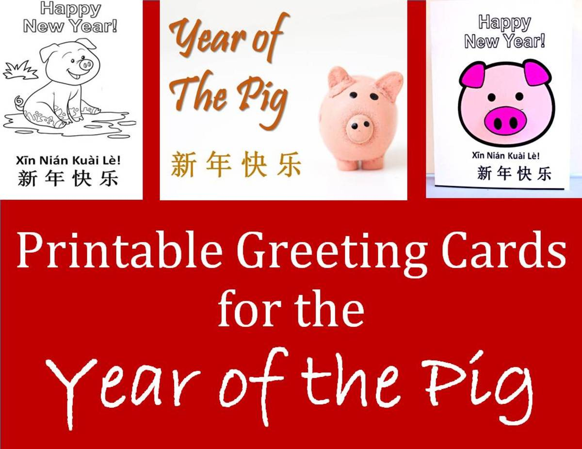Printable Greeting Cards for Year of the Pig