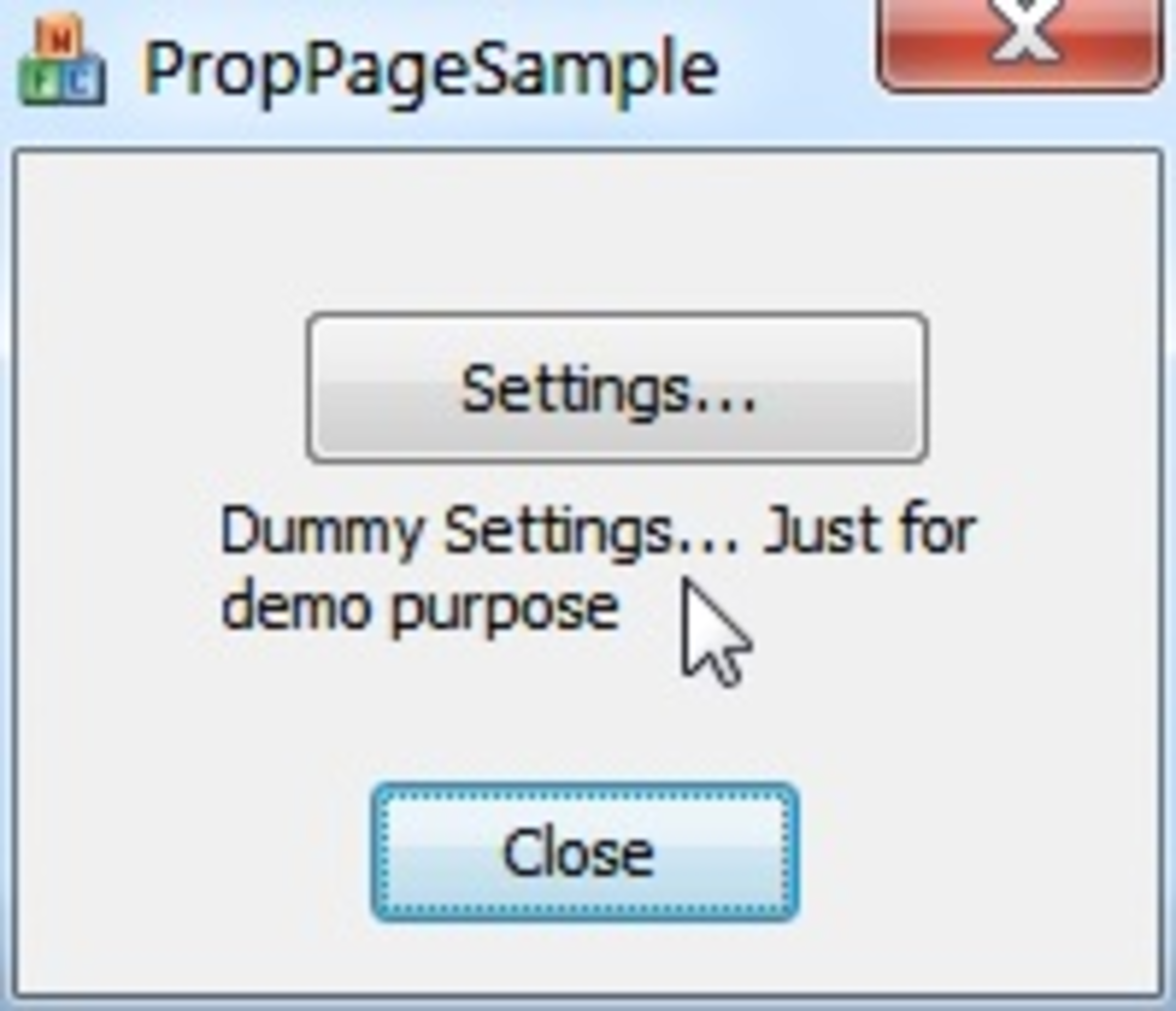 Main Dialog which launches PropertySheet Dialog