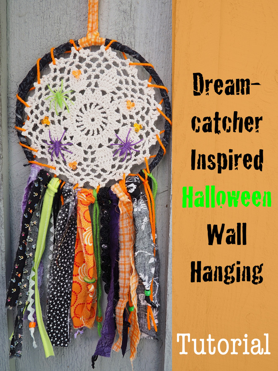 DIY Fabric Scrap Craft Tutorial: Dreamcatcher Inspired Halloween Wall Hanging