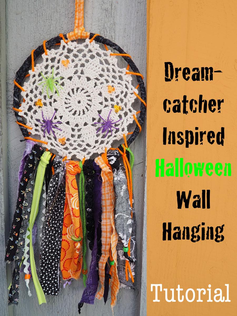 DIY Fabric Scrap Craft Tutorial: Dreamcatcher Inspired Halloween Wall Hanging