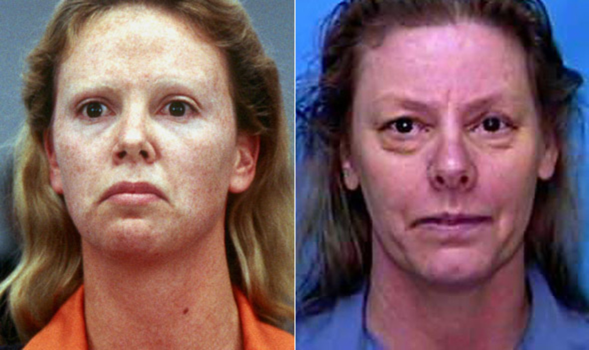 Actress Charlize Theron (left) and serial killer Aileen Wuornos.