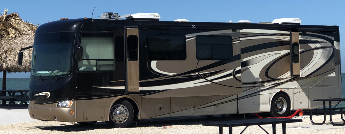 A class-A motorhome camped in the Keys