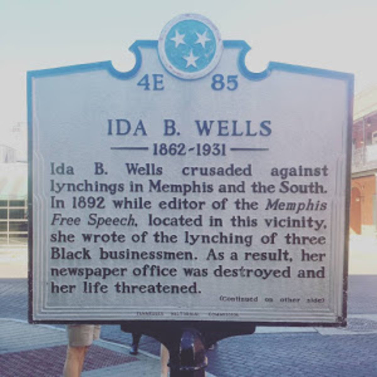 Plaque dedicated to Ida B. Wells' newspaper, the Free Speech.