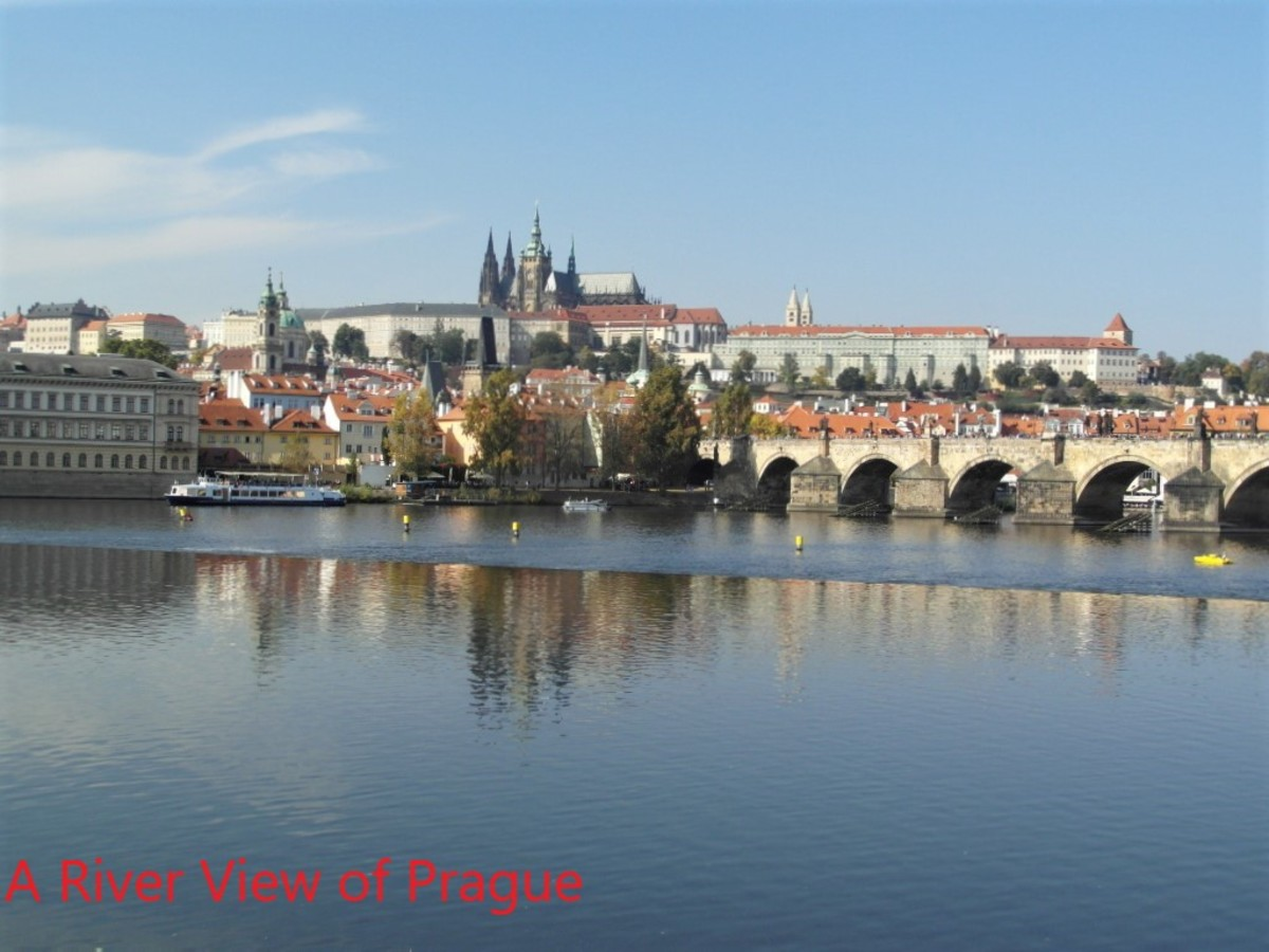 View across River Vltava towards Prague Castle.