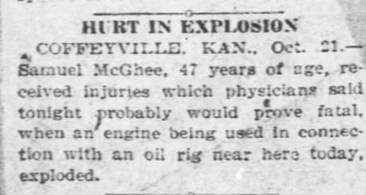 A clipping that explains how my great-grandfather died in an oilfield accident.