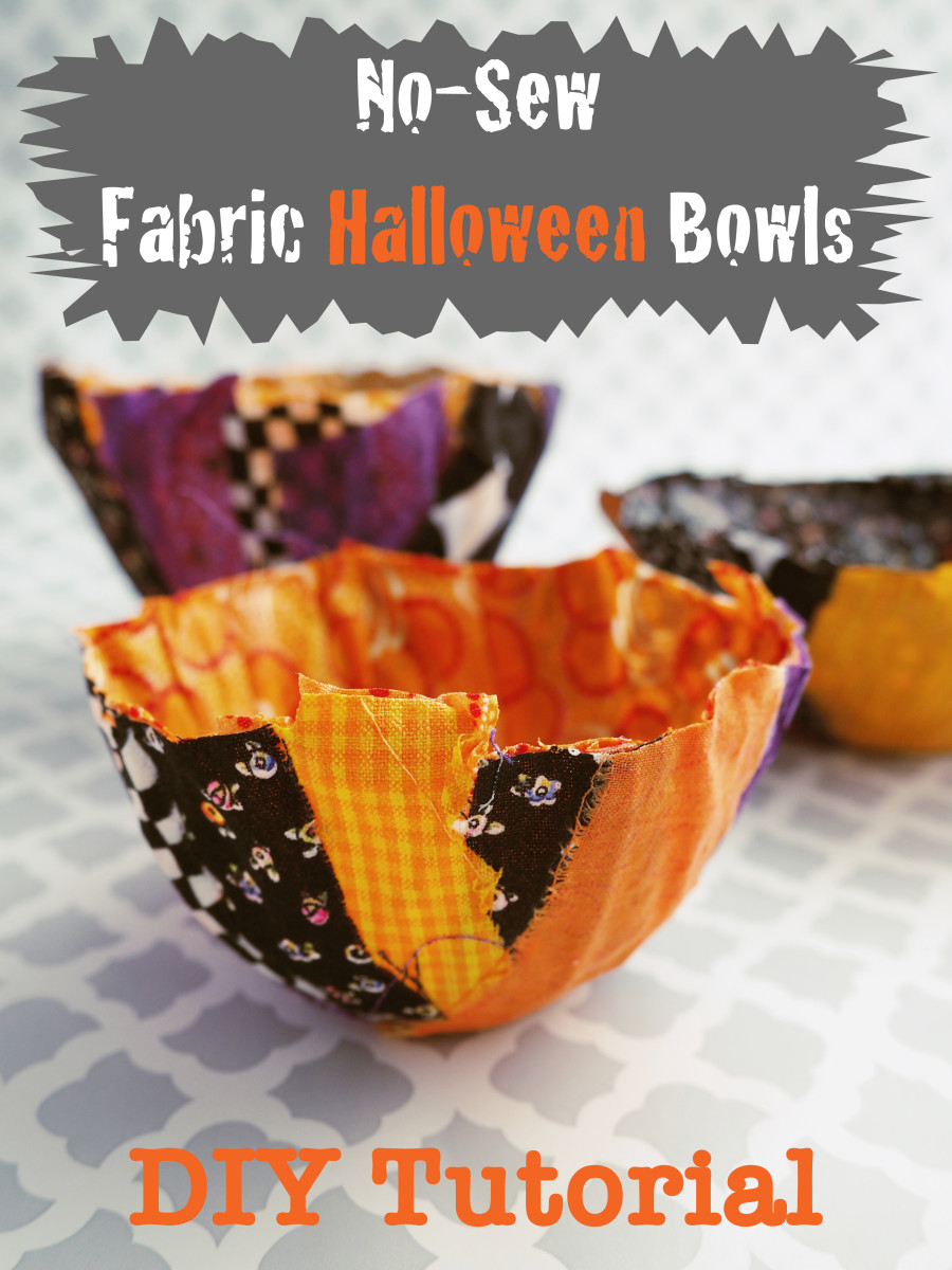 Fun and easy-to-make, these DIY fabric scrap Halloween bowls will be the hit at any party.