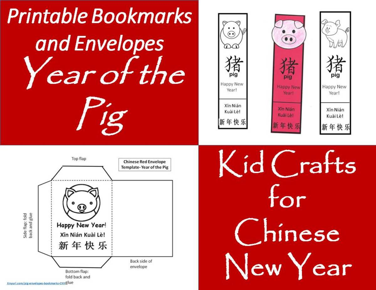 Printable Envelopes and Bookmarks for Year of the Pig: Kids' Crafts for Chinese New Year