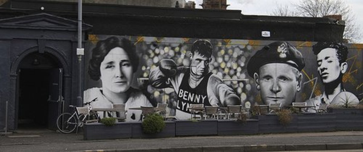 Johnny Ramensky is shown on a mural (second from right) outside a Scottish pub.