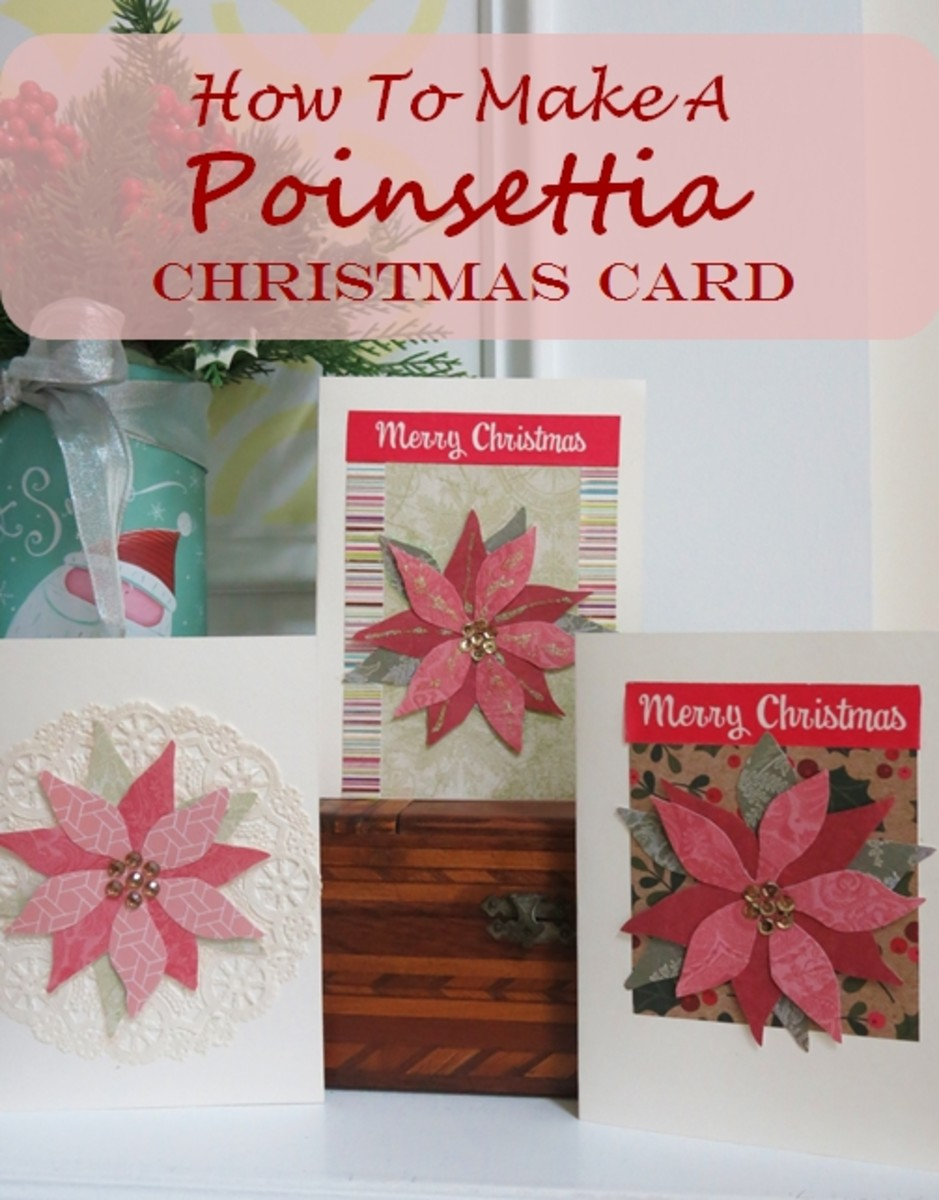 how to make a poinsettia christmas card without any
