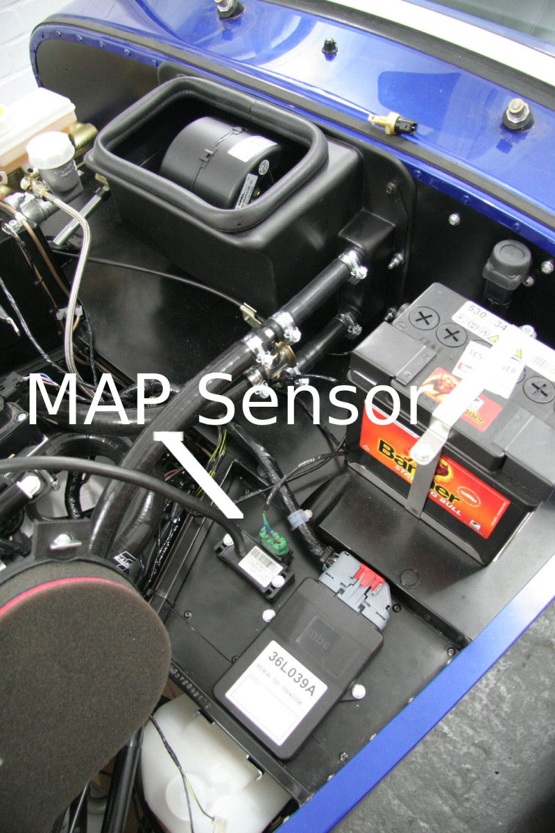 map sensor on footwell inside engine compartment