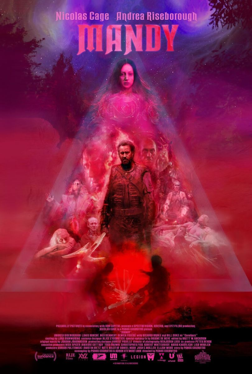 "The official one-sheet theatrical poster for, ""Mandy."""
