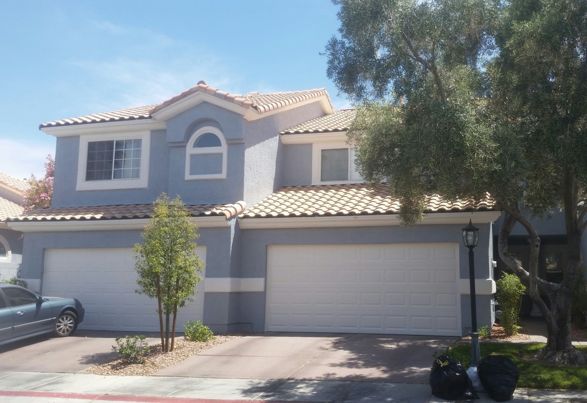 Our home in Las Vegas, right after it was painted blue ~ before this it was a tan color
