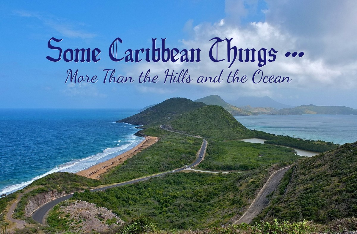 Hills and ocean in one view from Sir Timothy's Hill, Saint Kitts