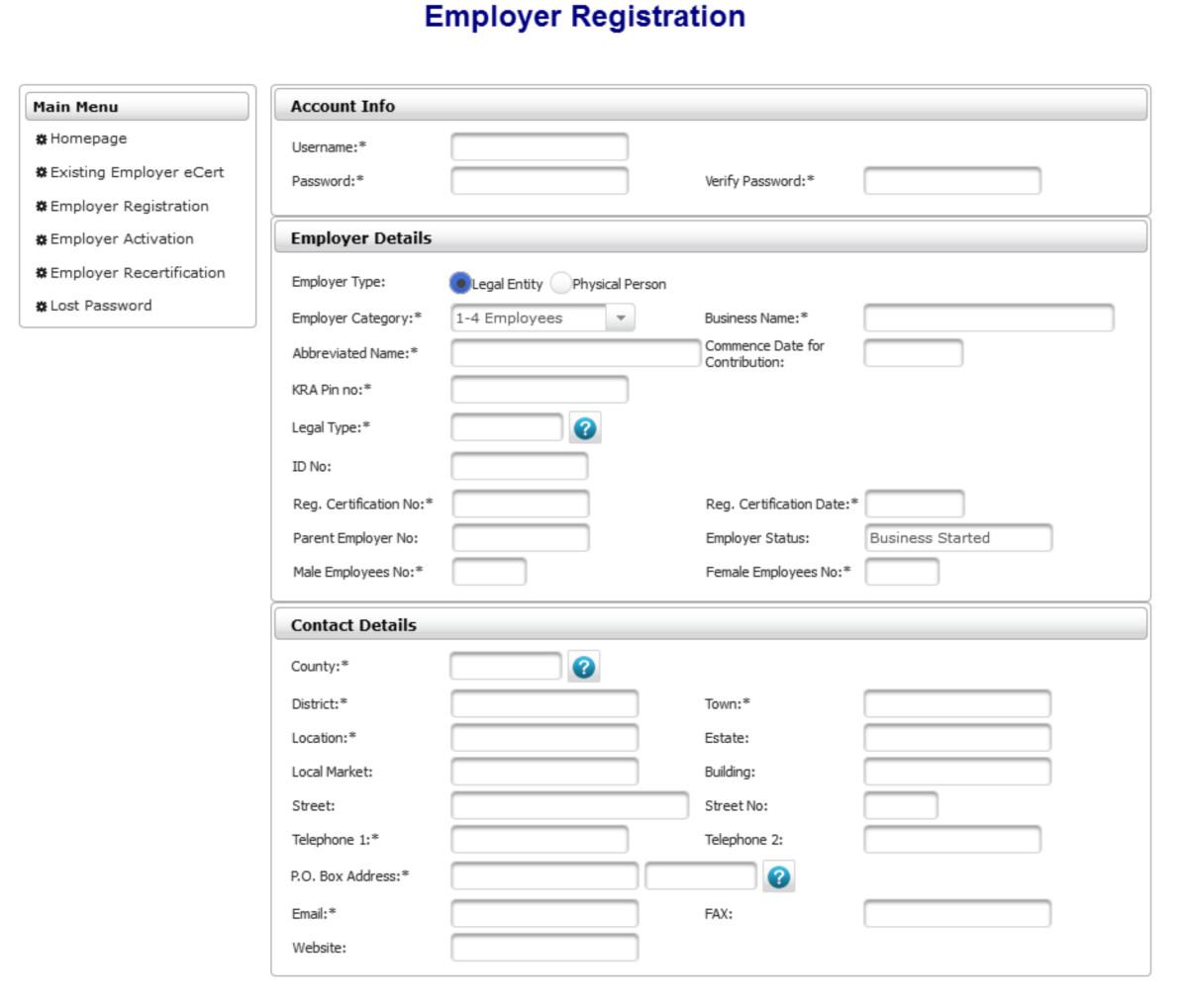 New Employer Registration Form