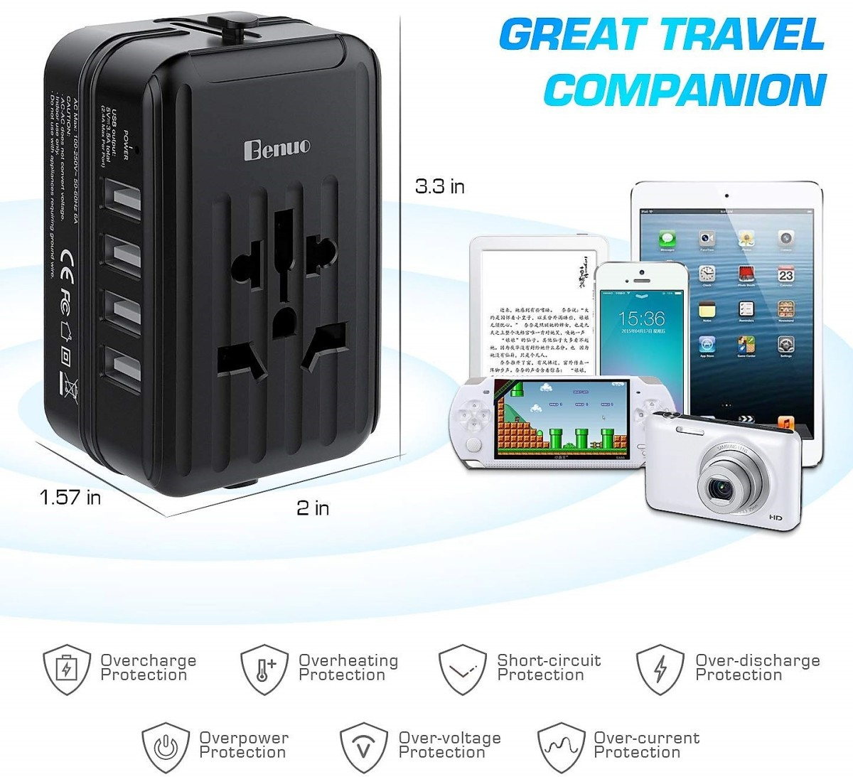 Benuo Travel Adapter Review: All-in-one Universal Power Adapter