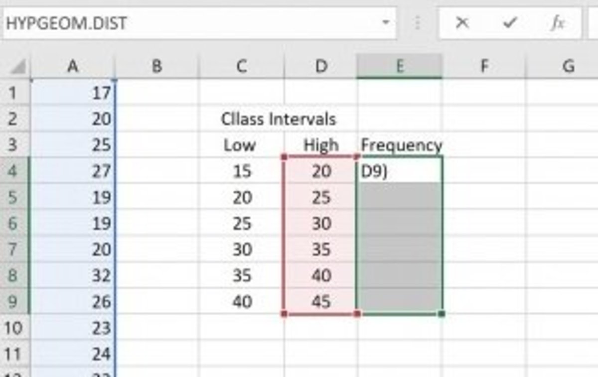 The illustration show a frequency distribution that was created in an Excel worksheet.