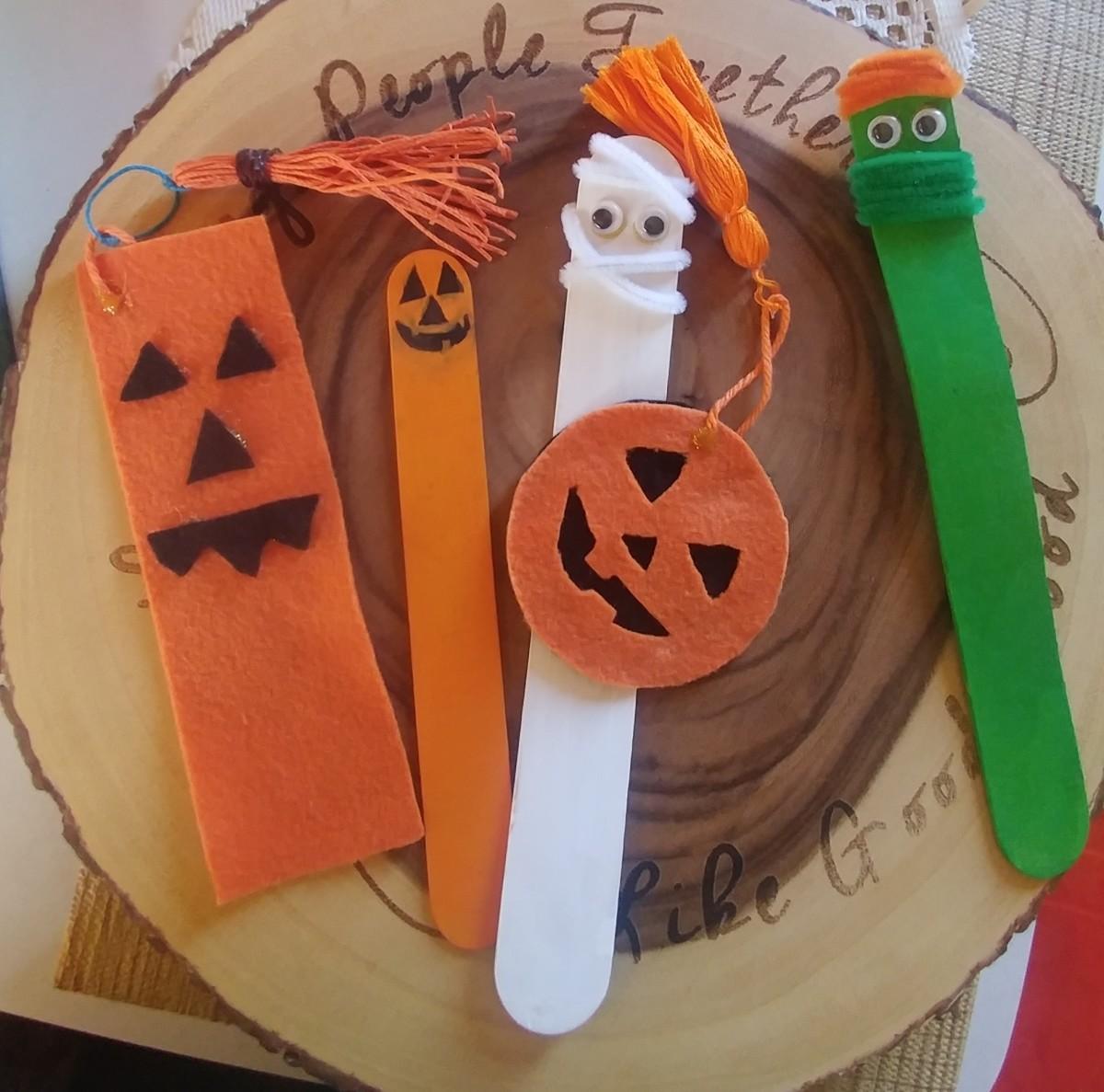 Jack-O'-Lantern-Themed Bookmarks