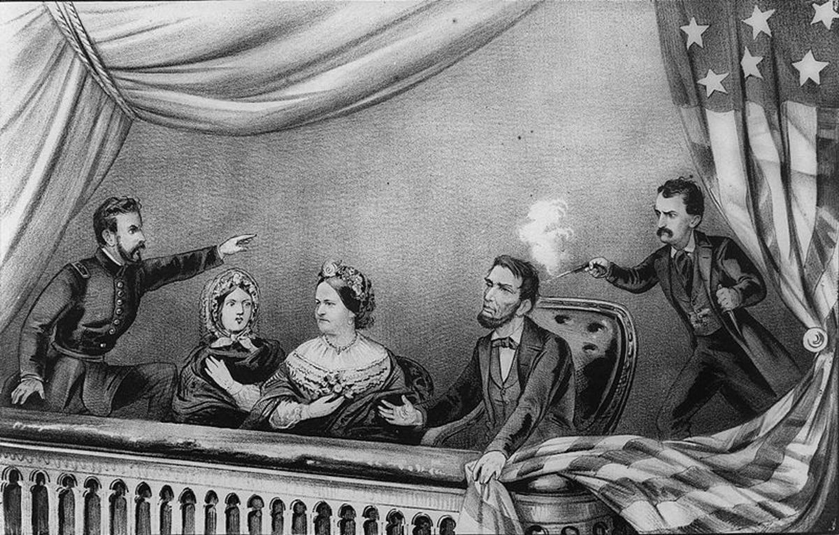 Lithograph of the Assassination of Abraham Lincoln. From left to right: Henry Rathbone, Clara Harris, Mary Todd Lincoln, Abraham Lincoln, and John Wilkes Booth. Rathbone is depicted as spotting Booth before he shot Lincoln and trying to stop him as B