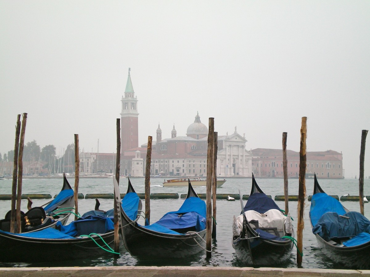 The gondolas of Venice, at the Piazza San Marco