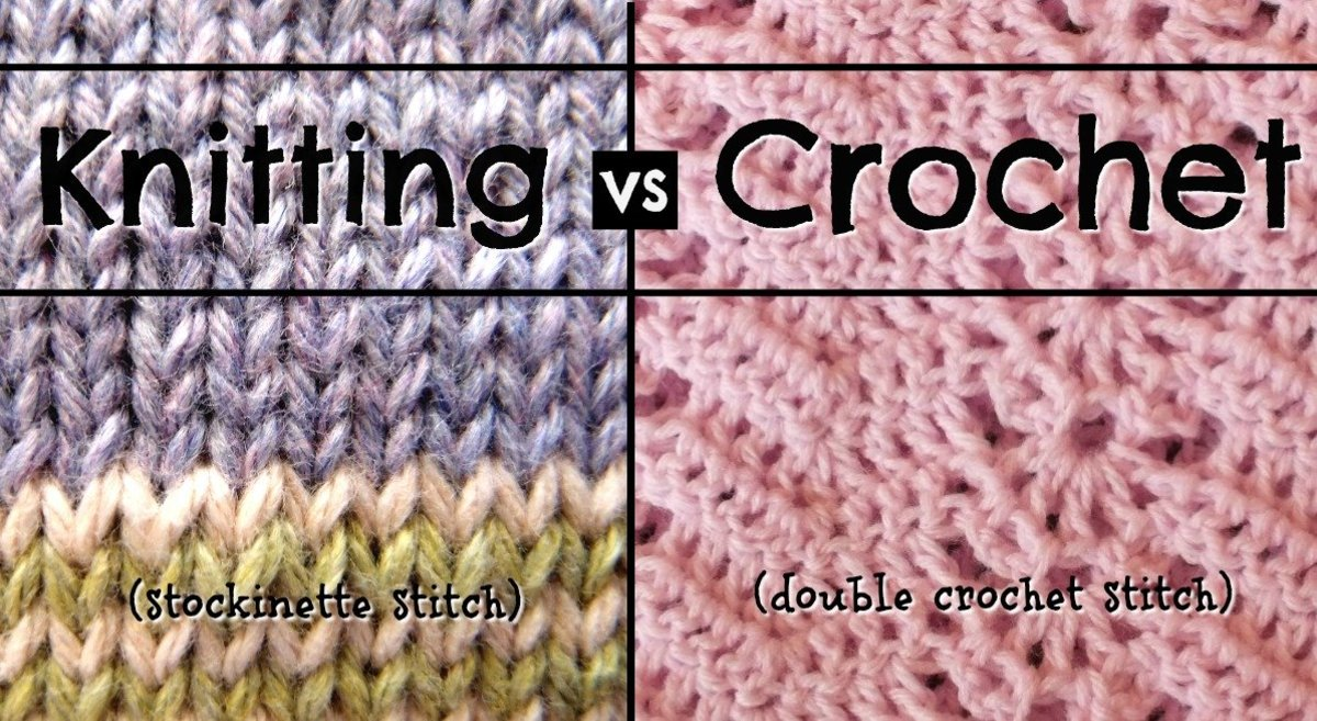 Knit vs Crochet: Stockinette knitting stitch and double crochet stitch comparison.
