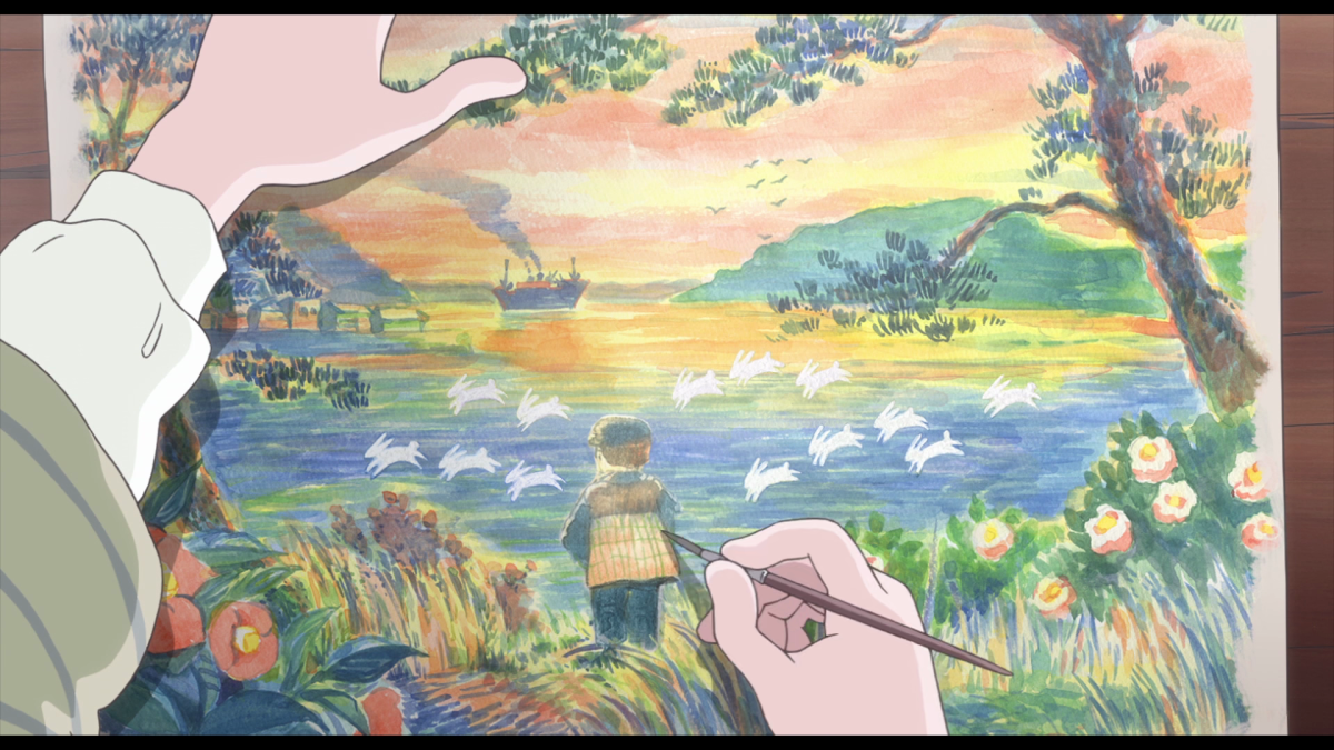 Suzu paints the scenery of a sunset by the sea, with rolling waves like white rabbits.