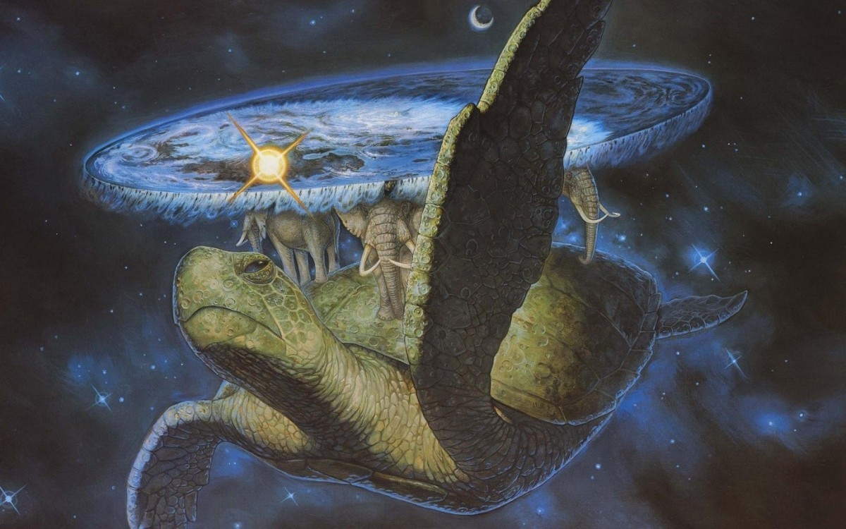 Terry Pratchett's Discworld: Carried on the back of four elephants which in turn stand on the back of the turtle known as the Great A'tuin.