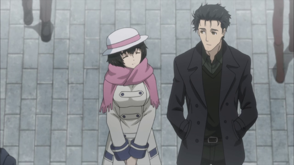 Okabe, subdued and plagued with regrets, walks home from university with Mayuri.