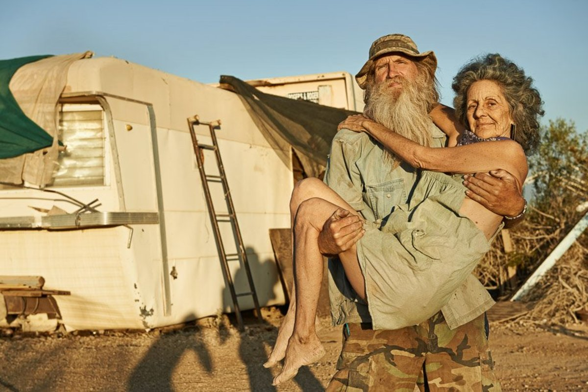 Two Residents of Slab City. Dave and Lizzie have been living full time in Slab City for more than ten years.