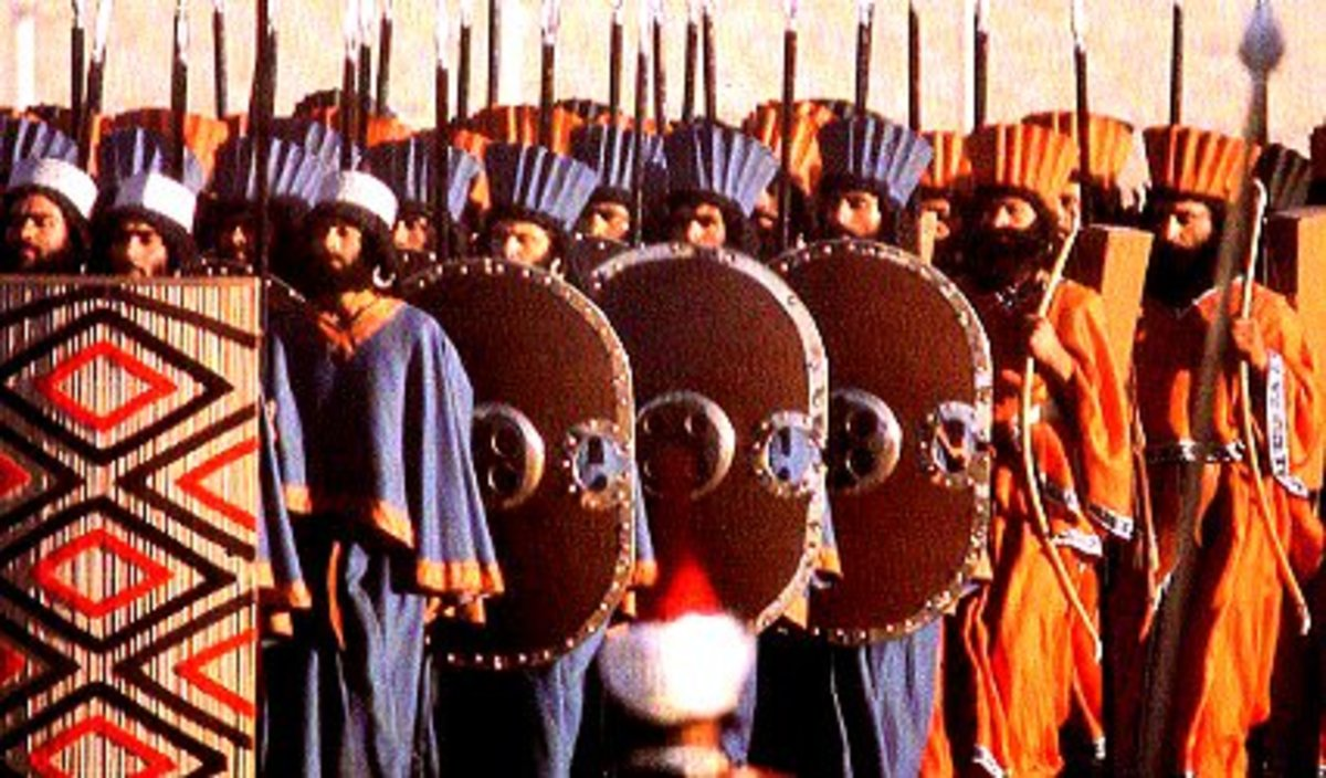 The Persian Immortals in battle formation.