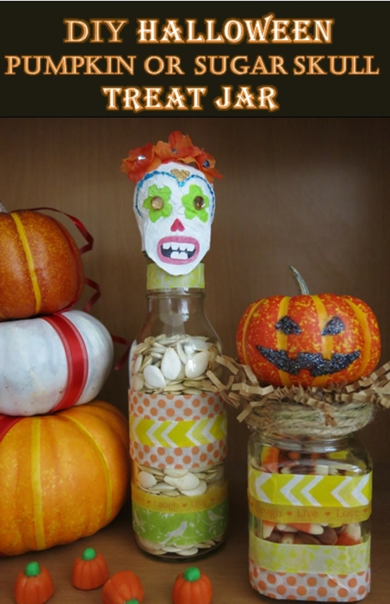 How To Make A Halloween Pumpkin or Sugar Skull Treat Jar
