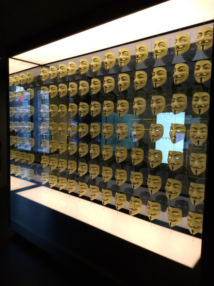 These stylized Guy Fawkes masks have become global symbols of hackers.