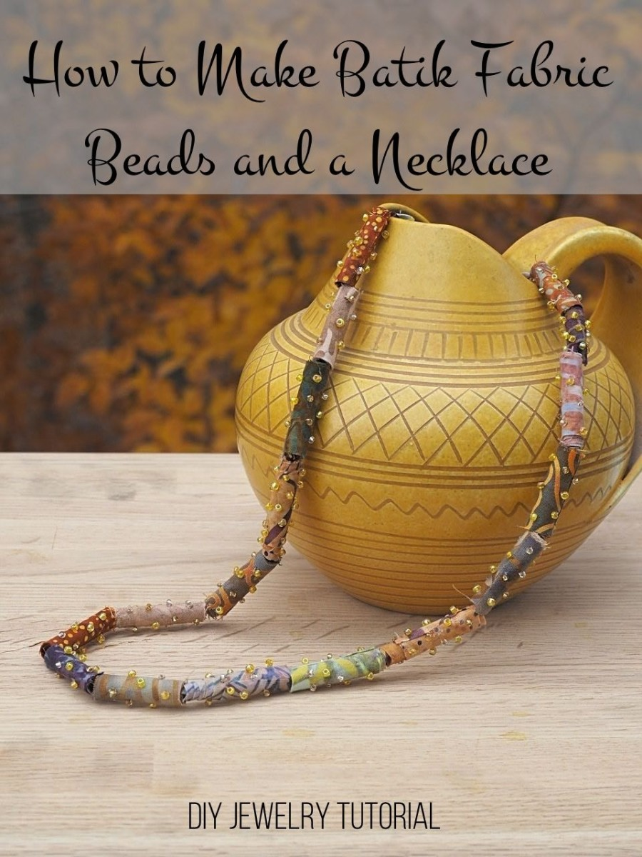 DIY jewelry tutorial on how to make batik fabric beads and turn them into a necklace.