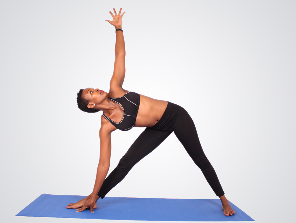 Extended triangle pose may help to relieve symptoms of mild anxiety.