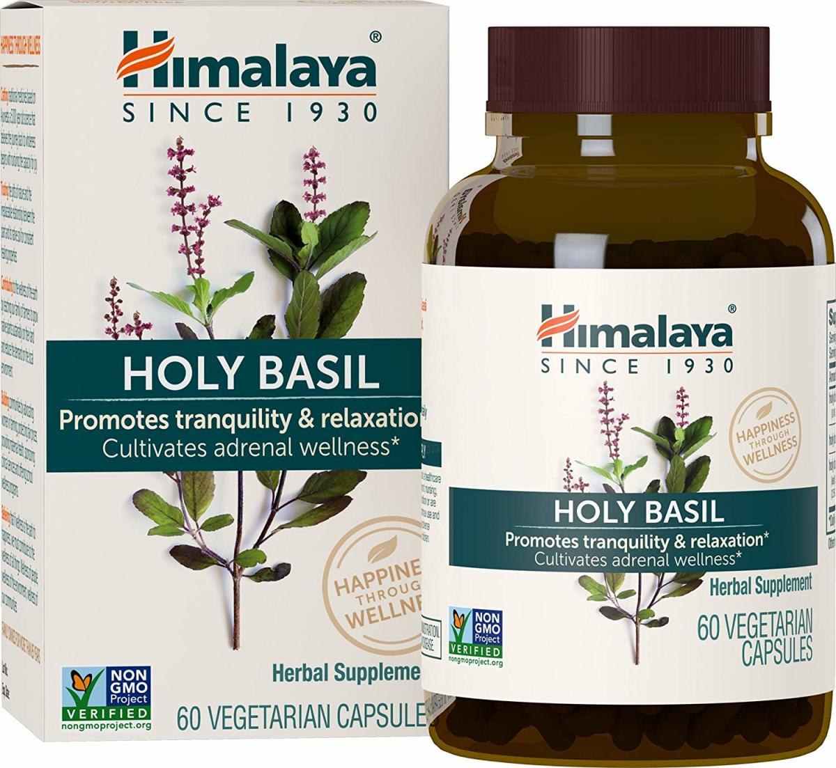 Holy basil capsules manufactured by Himalaya Herbal Pharmaceuticals, India.