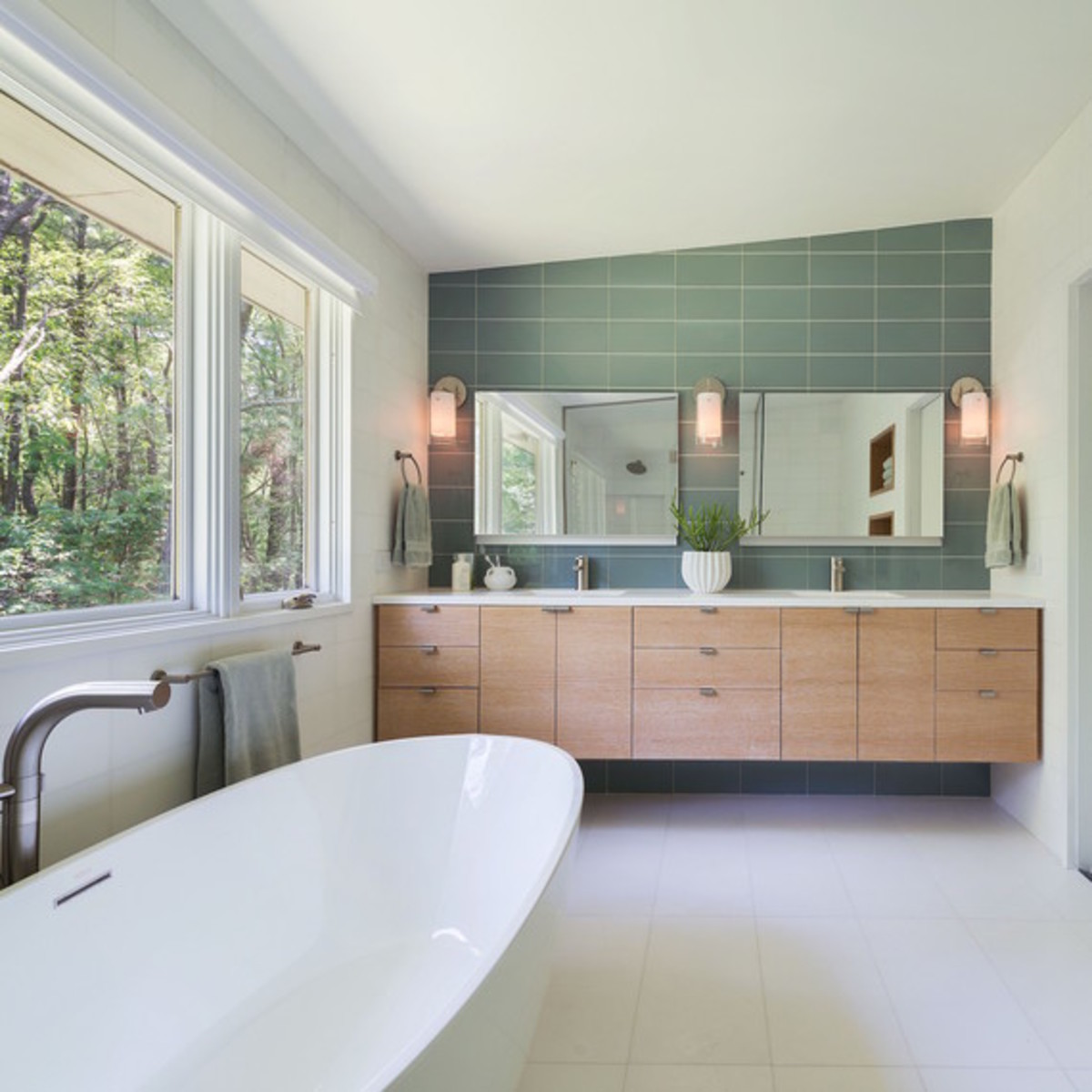 Neutral colors paired with organic tones create the perfect spa retreat.