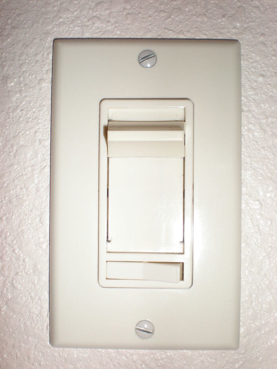 A basic dimmer switch slides up and down to  change the brightness depending on the mood.