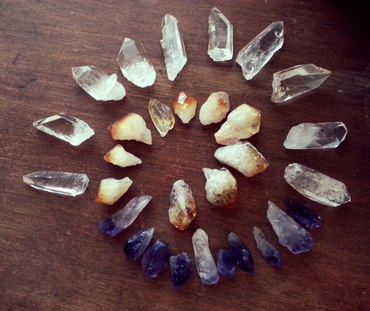 Amethyst, citrine and quartz crystal points.