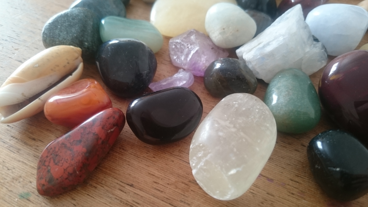 A selection of tumbled crystals.