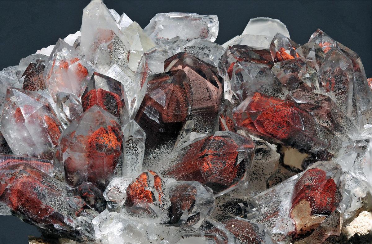 Quartz with hematite.