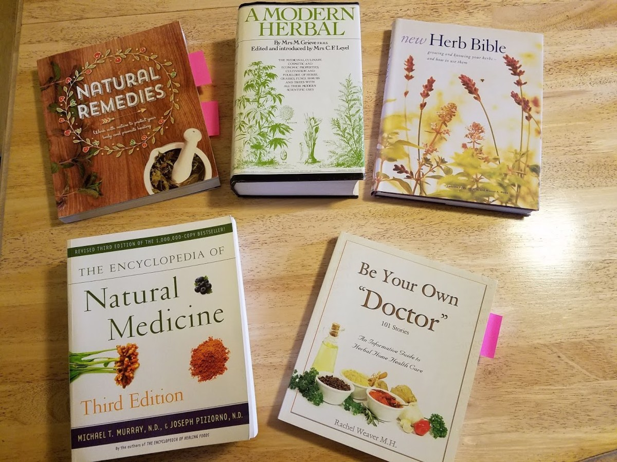 I referenced a number of books while attempting to create a salve to help my daughter. A few are pictured above.