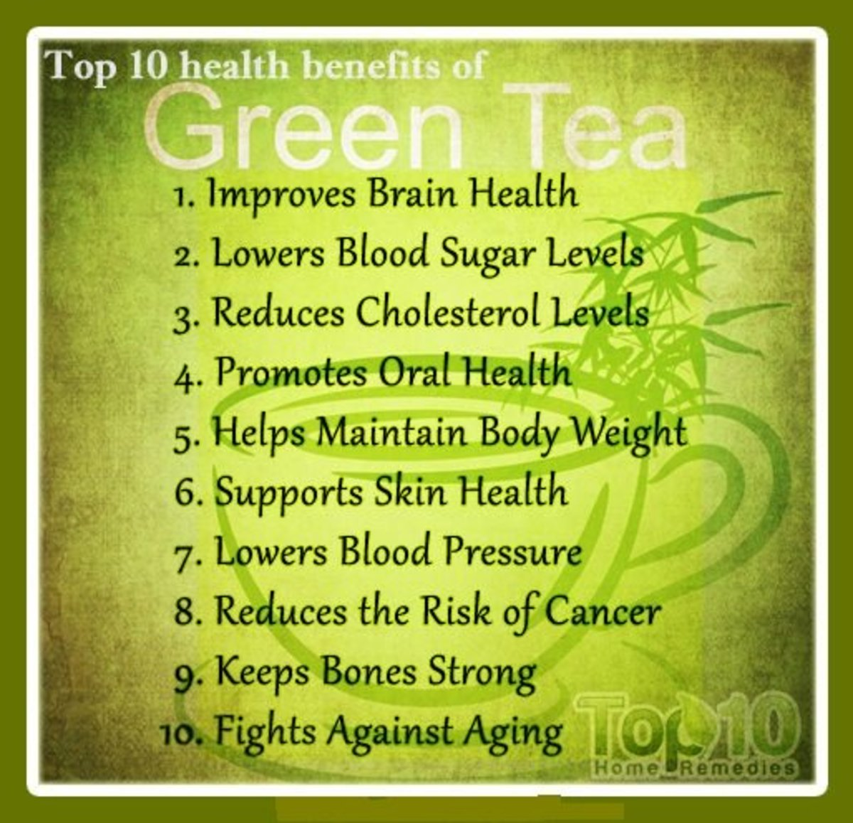 Green tea has many health benefits beyond improving memory and preventing dementia.