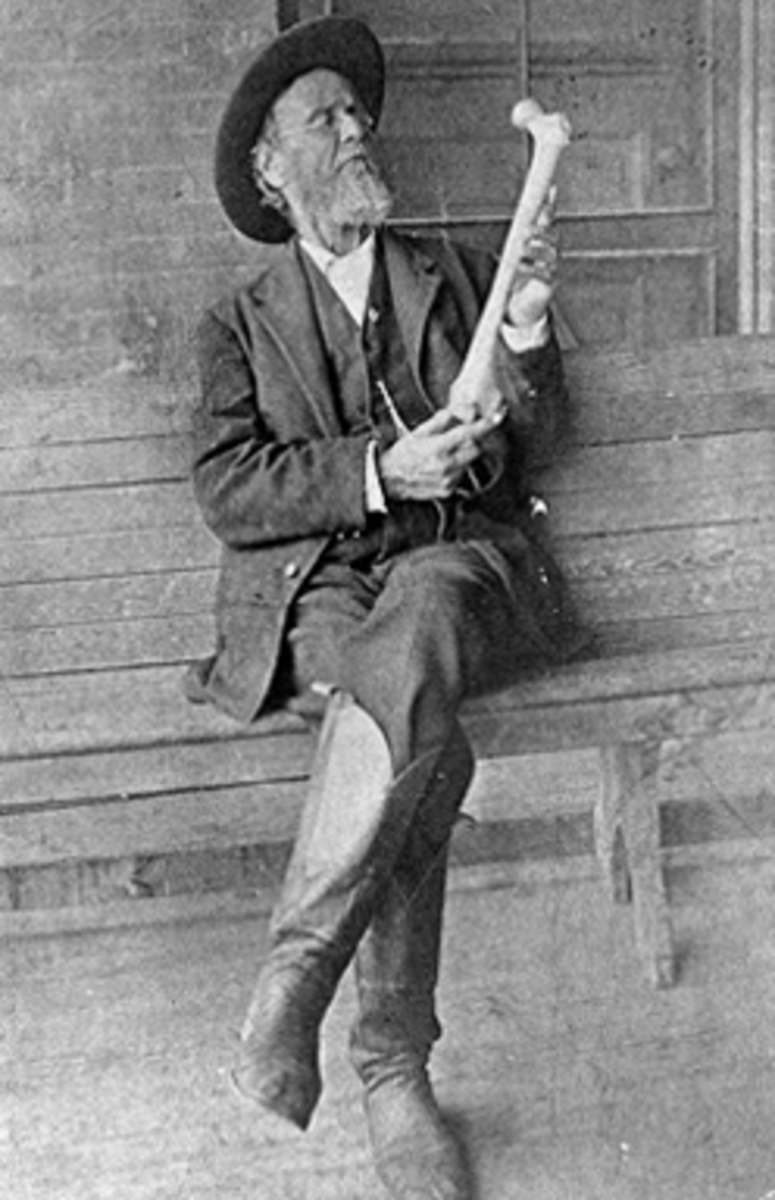 Andrew Taylor Still is the founder of Osteopathy. Here he is observing a human femur.