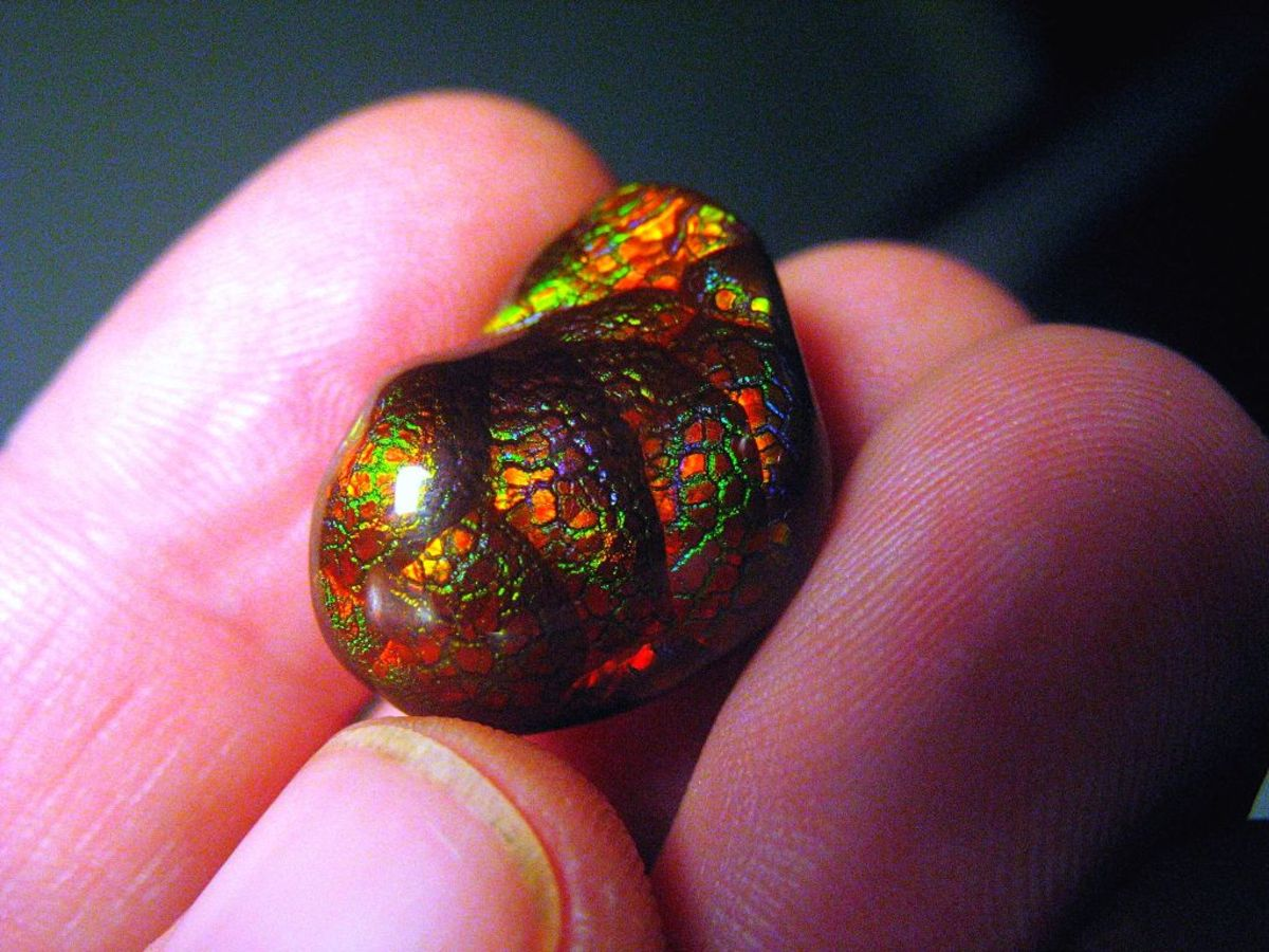 Fire agate is an iridescent red variety that often includes flashes of other colours.