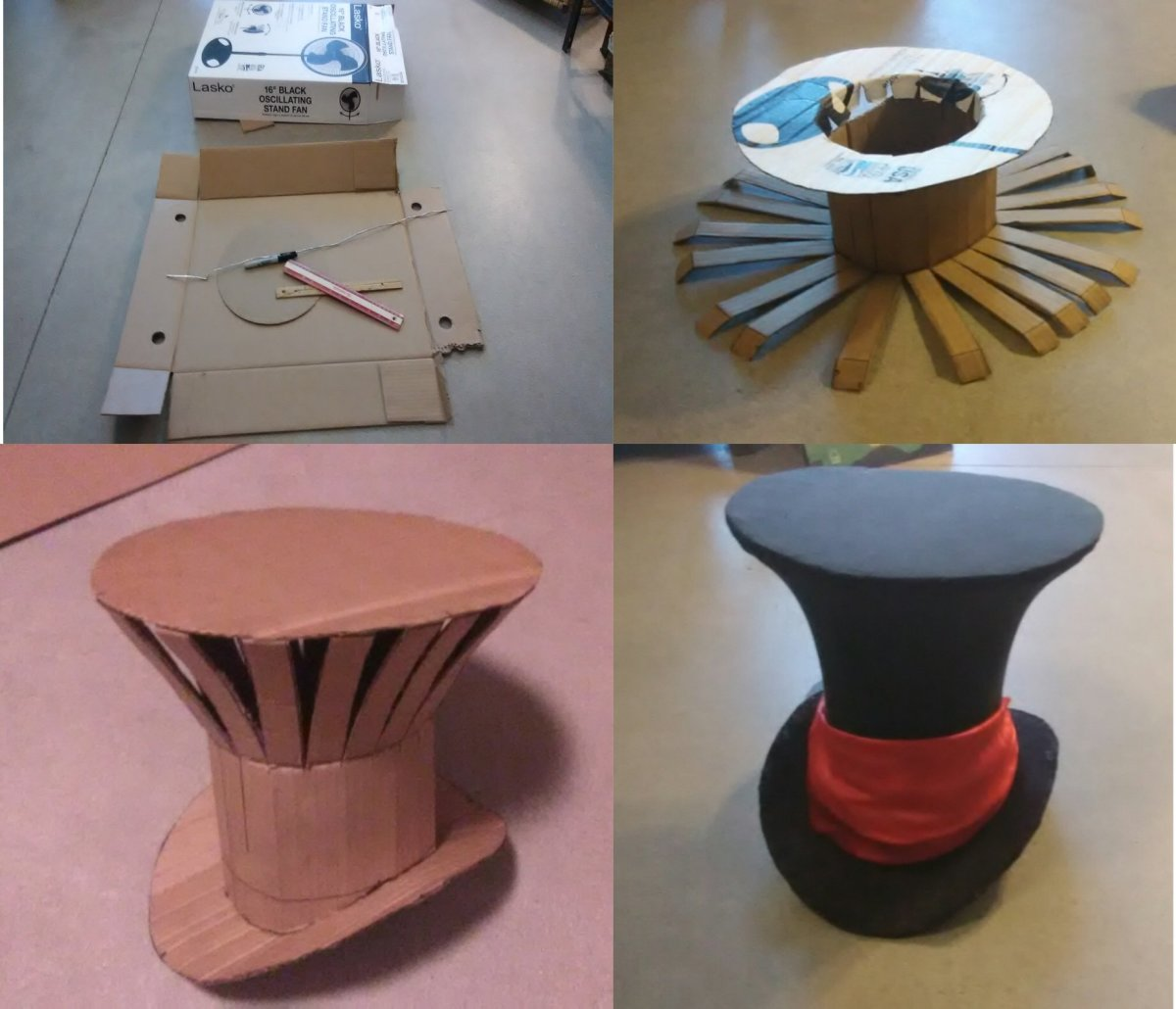 How to Build a Mad Hatter Top Hat. Illustrated Step-by-Step Using Upcycled Materials. Skill Level: Medium; Time: 4 Hrs