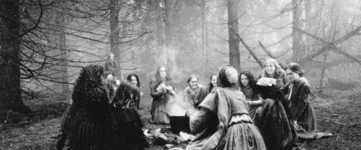 A witch's gathering.  A scene from the film adaptation of The Crucible