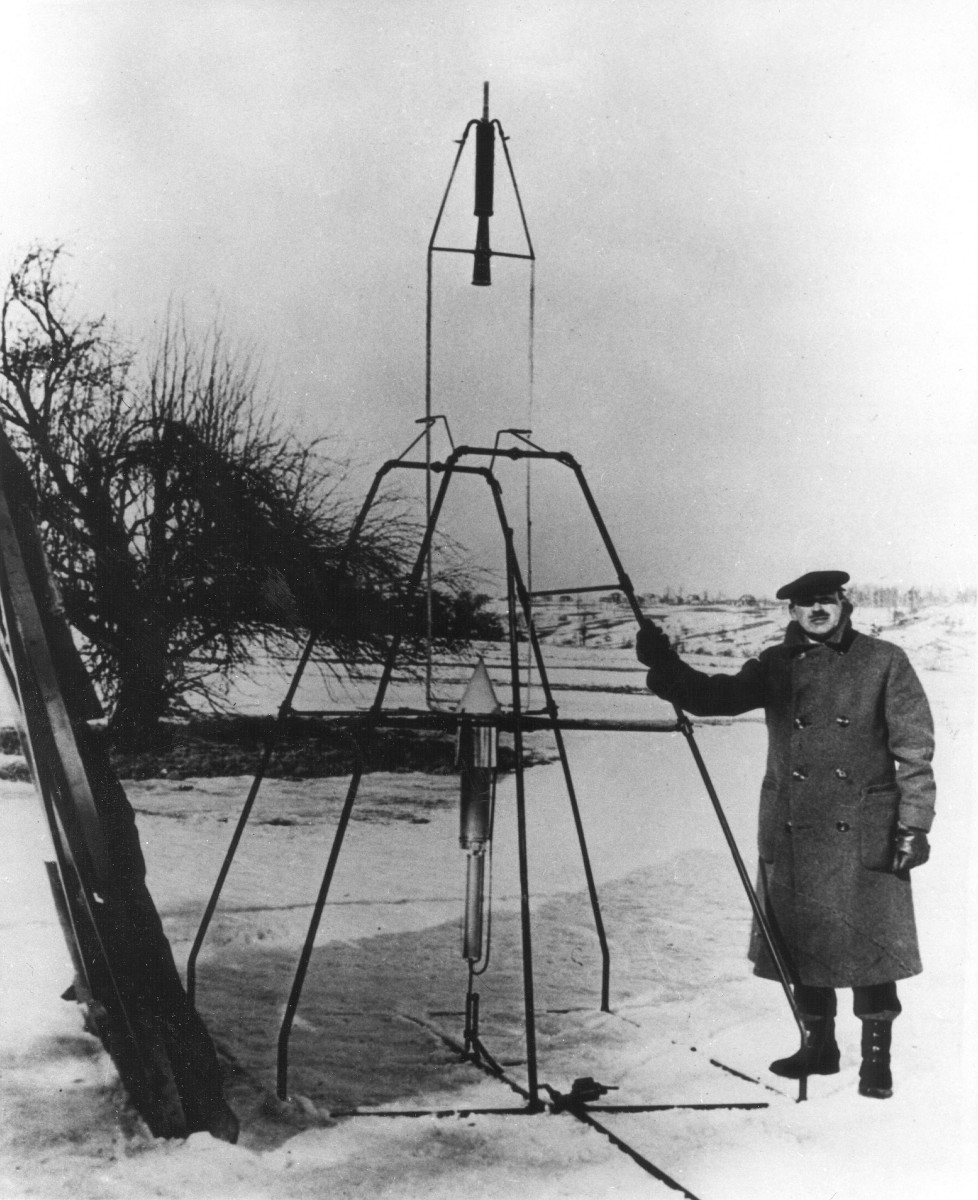 Robert Goddard with the first liquid propellant rocket in 1926