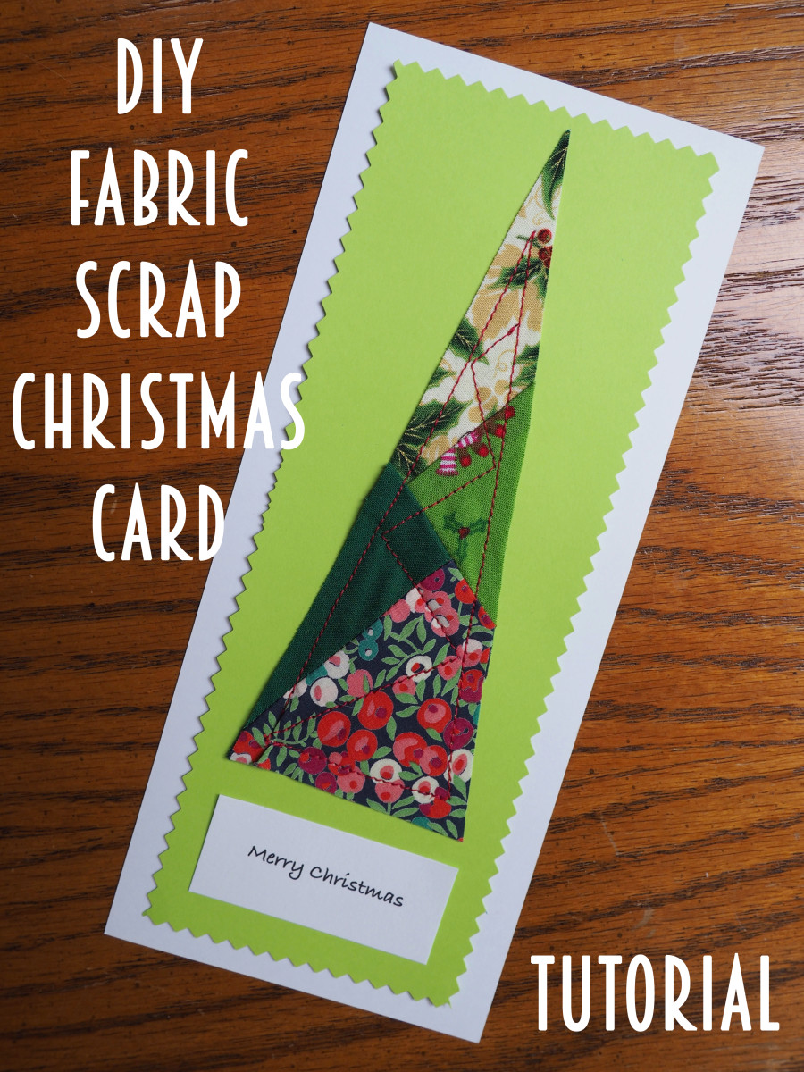 This is an easy-to-make unique Christmas tree card, made with fabric scraps and scrapbooking supplies.
