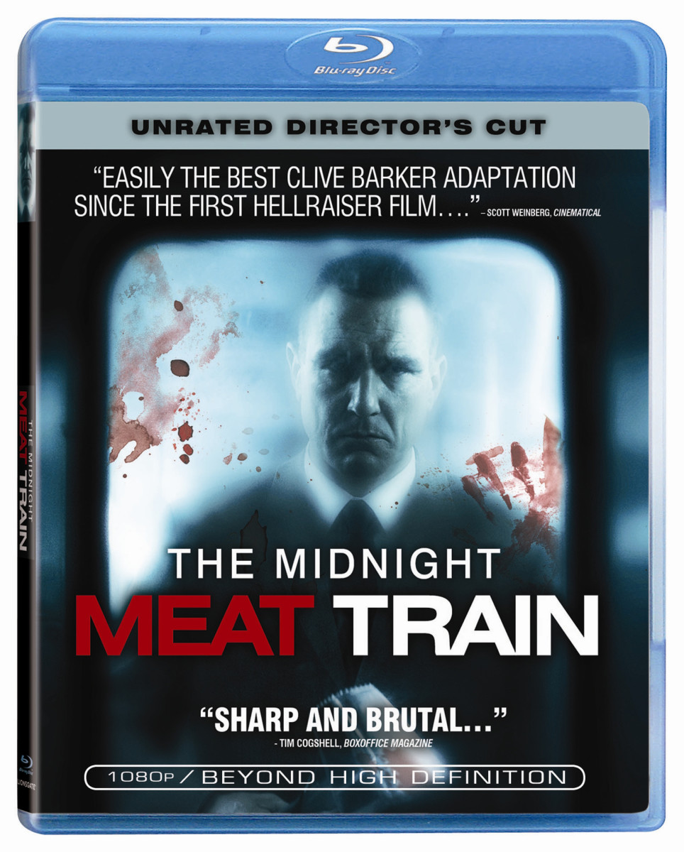 "The official cover for the unrated director's cut Blu-ray of, ""The Midnight Meat Train."""